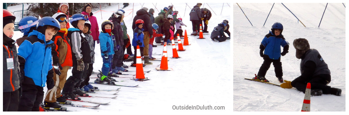 Kids Learning to Ski at Chester Bowl in Duluth, MN