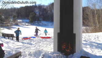 UMD's Outdoor Fireplace and Sledding Hill
